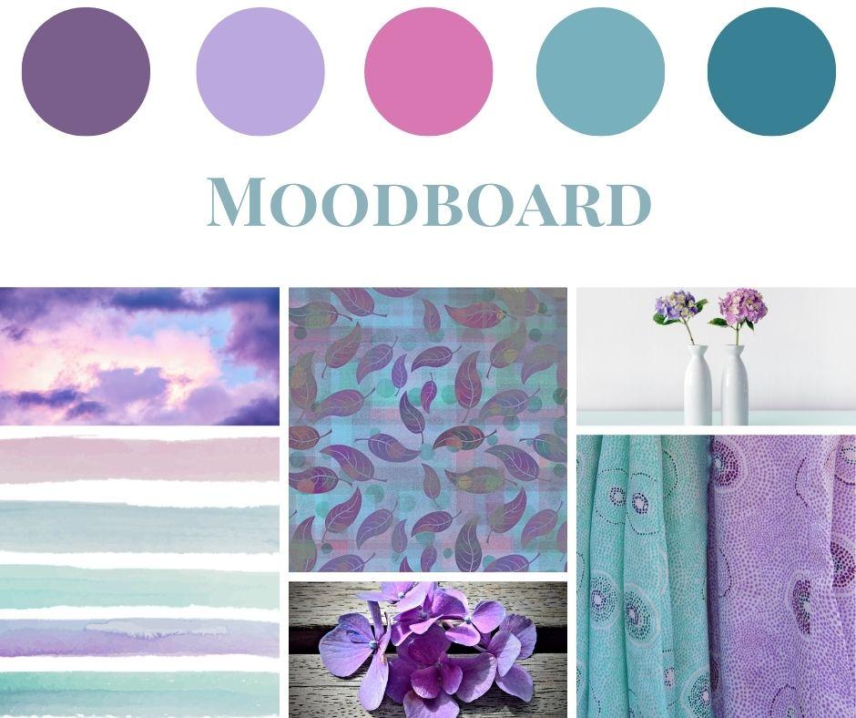 Moodboard Türkis und Violett